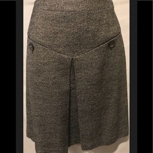 TRINA TURK Pleated Gray Career Wool Silk A Line
